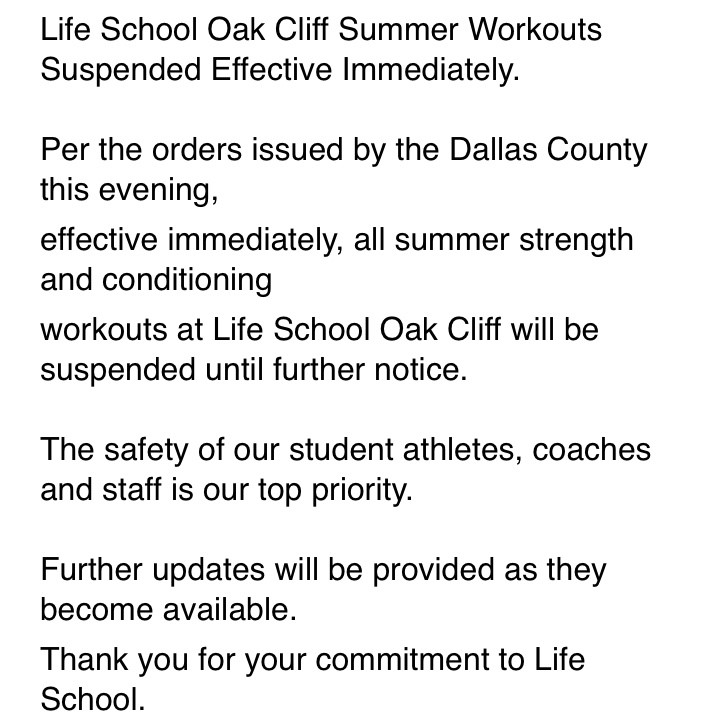 OC Summer Workouts Suspended