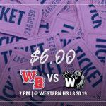 Ticket Price Update: Western Boone @ Western 8/30/19