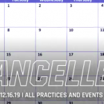 Cancelled: All Practices and Events – Monday, December 16th