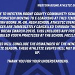 Cancelled: Western Boone Athletic Events and Practices – Through Spring Break
