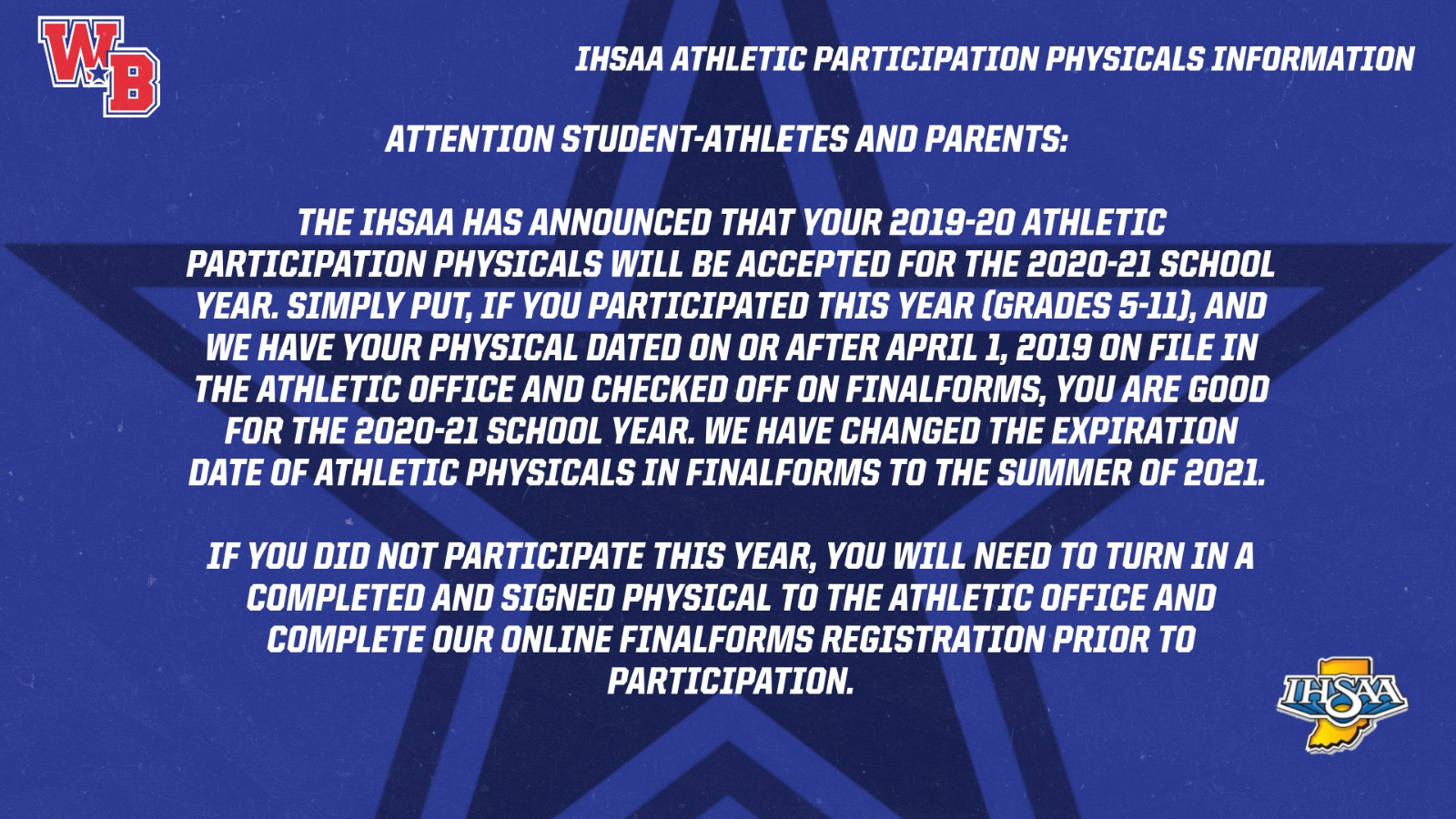 Athletic Physicals from 2019-20 Now Valid Through 2020-21 School Year