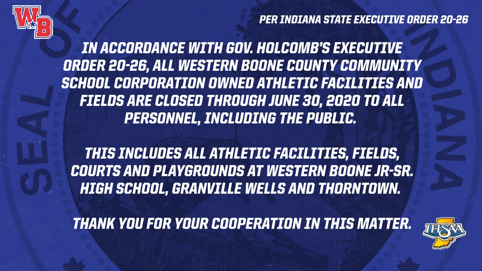 Athletic Department Update in Accordance with Executive Order 20-26