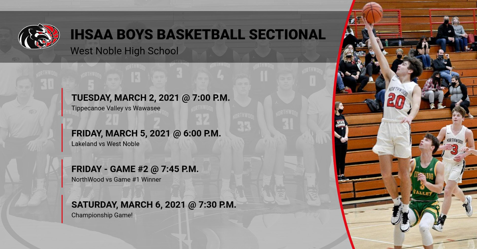 IHSAA West Noble Boys Basketball Sectional Information