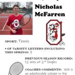Tennis Senior Spotlight – Nicholas McFarren