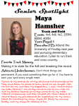 Girls Track and Field Senior Spotlight – Maya Hamsher