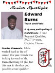 Boys Track and Field Senior Spotlight – E. Burns
