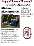 Boys Track and Field Senior Spotlight – M. Maximovich