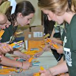 WHS Cheerleaders and Mascots work with Open Doors of Westfield