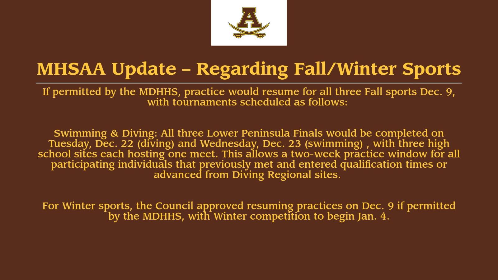 MHSAA Update – Regarding Fall/Winter Sports