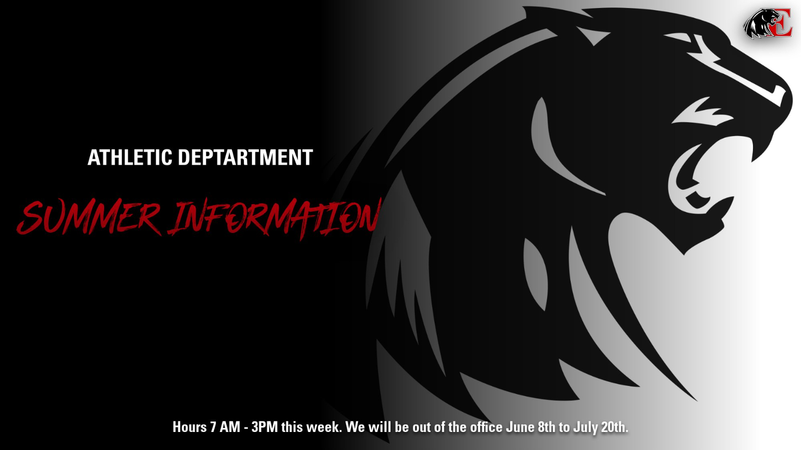 Athletic Department Summer Hours
