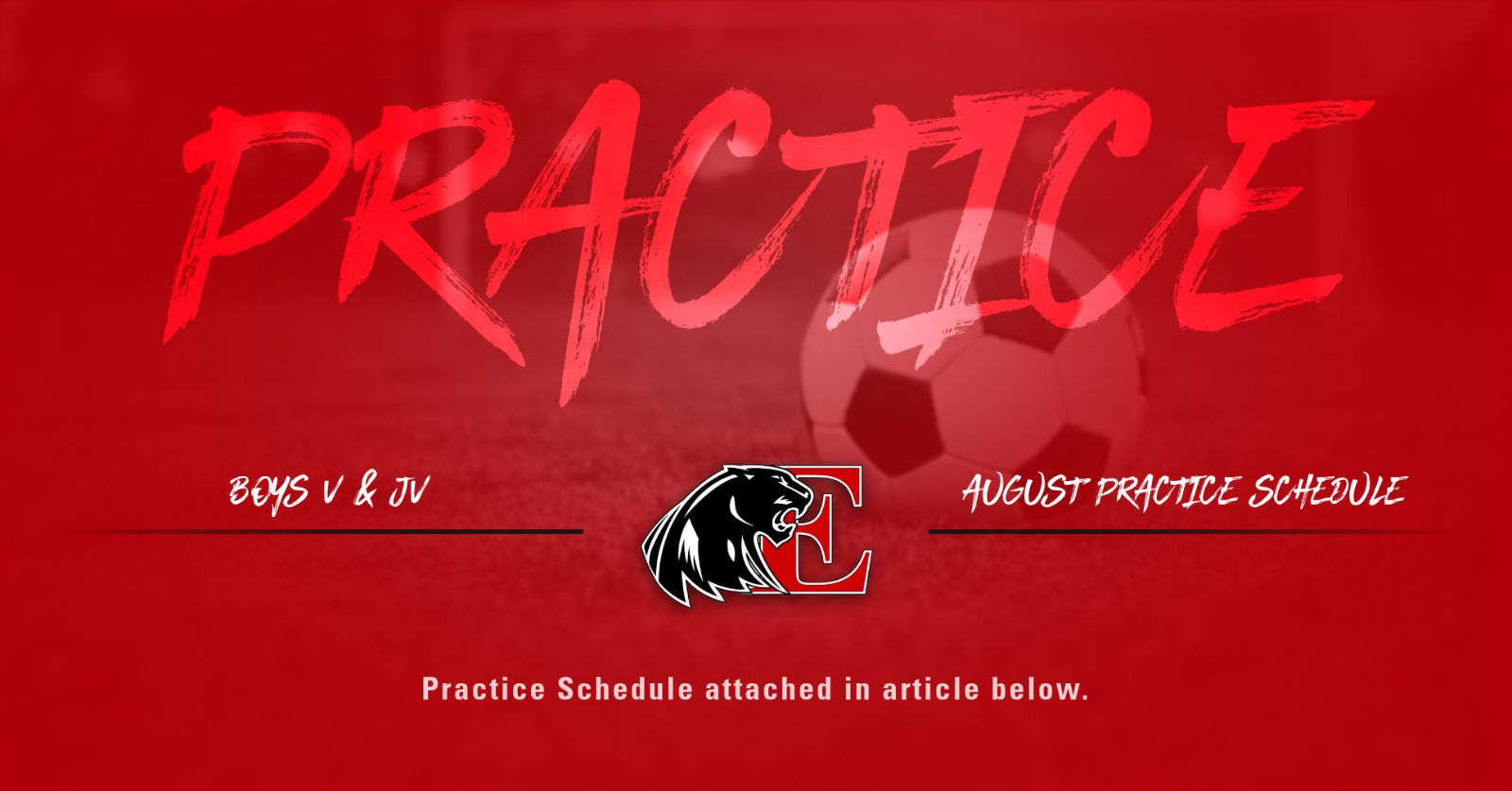 Boys Varsity & JV Practice Schedule for August