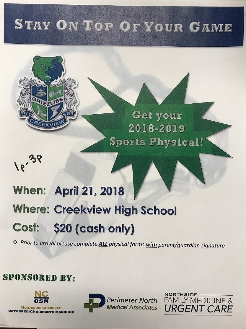 Creekview to Host Northside Hospital Spring Physical Fair!!!