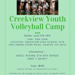 CVHS Youth Volleyball Camp Information 2018