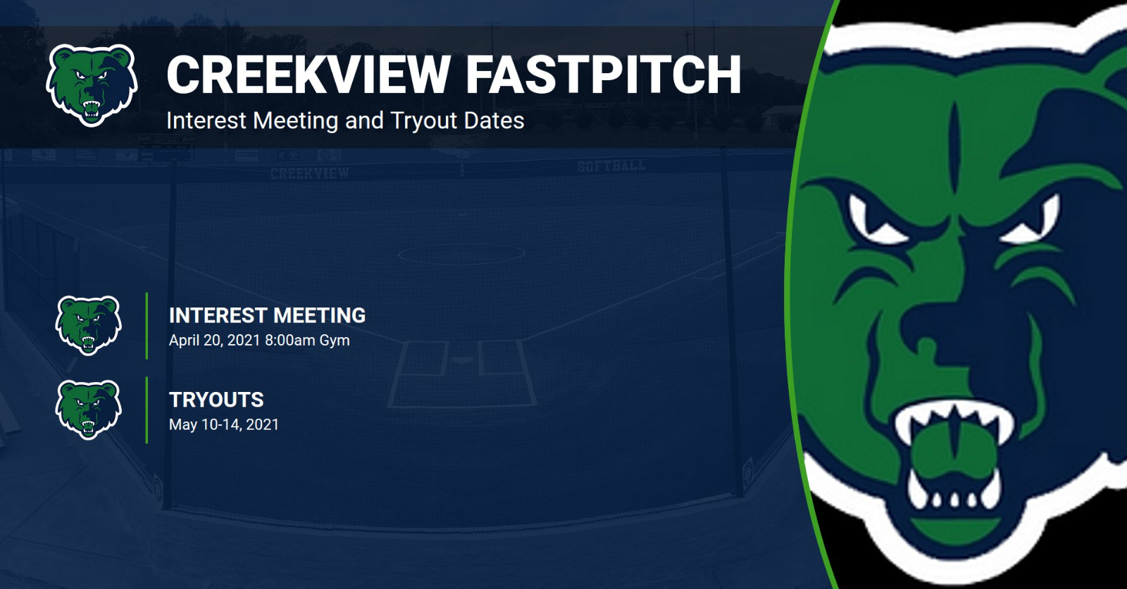 Creekview Fastpitch Softball – 21-22 School Year Interest Meeting and Tryout Dates