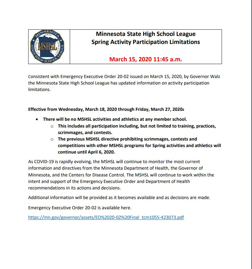 MSHSL Announcement – March 15