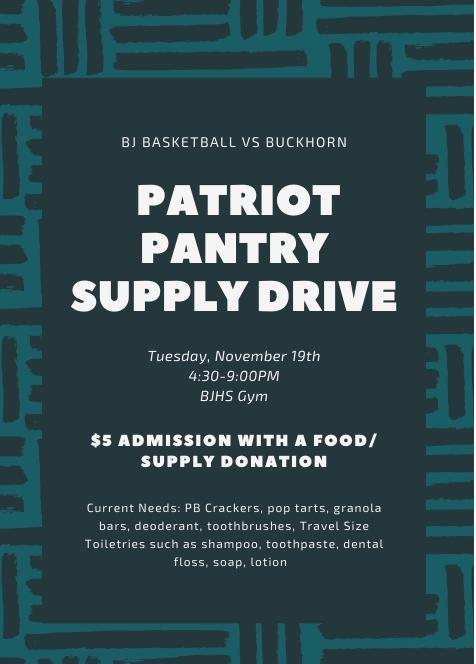 Basketball at Sparkman Tonight & Pantry Supply Drive Tuesday