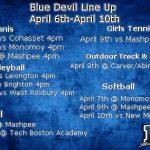 Blue Devil Line Up of the week: April 6th- April 10th