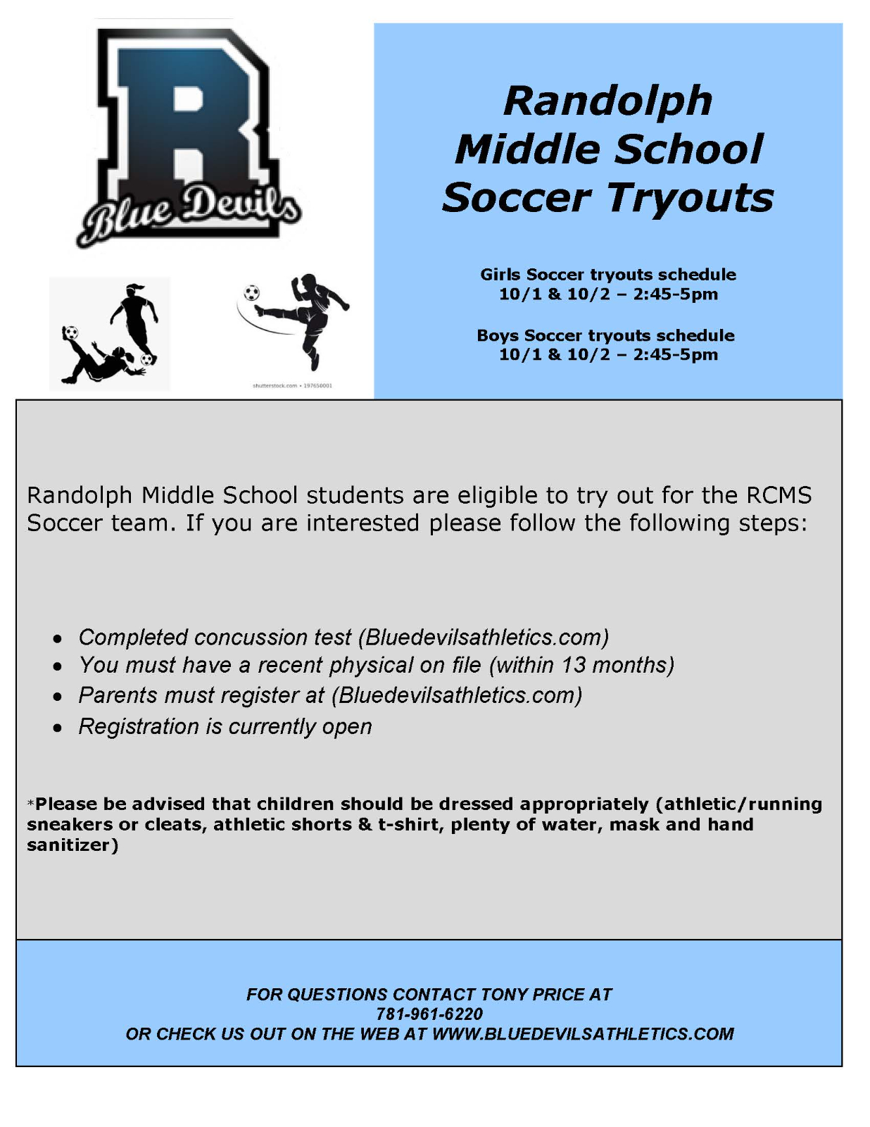 RCMS Middle School Soccer Tryouts