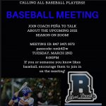 2021 Baseball Meeting: Join Coach Pena to Talk about the Upcoming Season