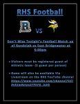 RHS VS East Bridgewater Tonight @ 5:00pm