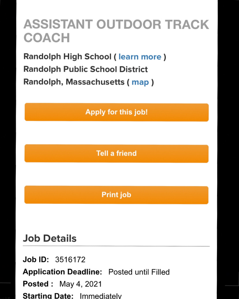 RHS is Looking for an Assistant Outdoor Track Coach ASAP!!!!!