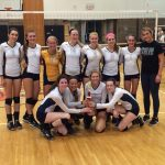 Hartland Volleyball Celebrates at Fenton