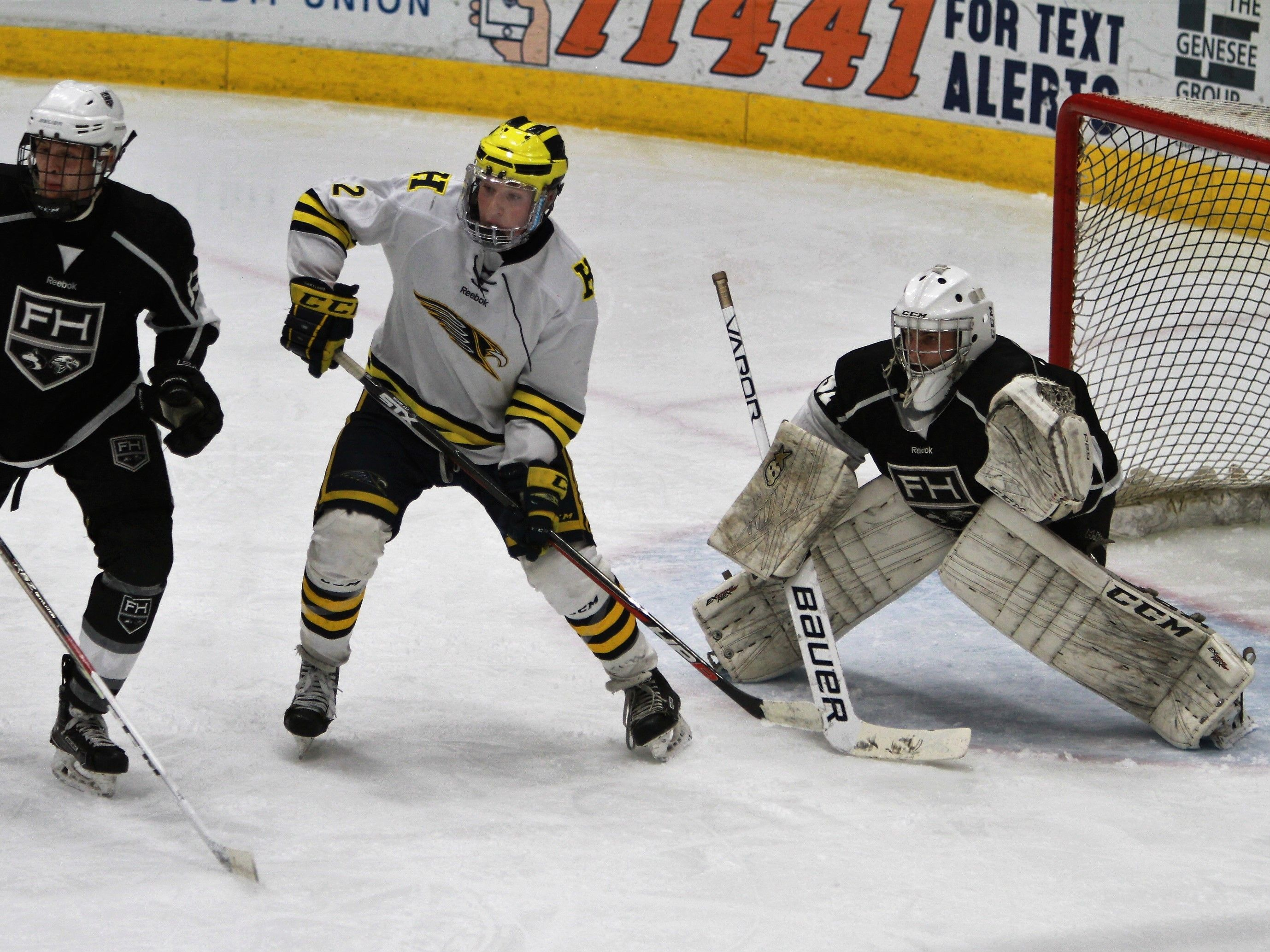 Hartland's Kieran Carlile (2) camps out in front of Forest Hills Eastern goalie Brenden Bogema during a power play in the state Division 2 hockey quarterfinals on Tuesday, March 5, 2019.