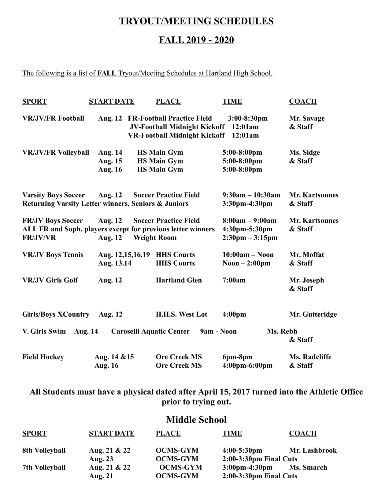 Fall 2019-2020 Tryout Information