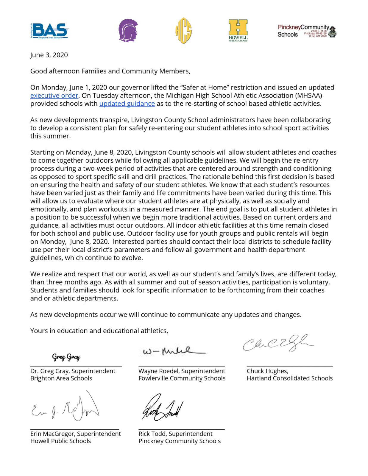 A Message from County Superintendents