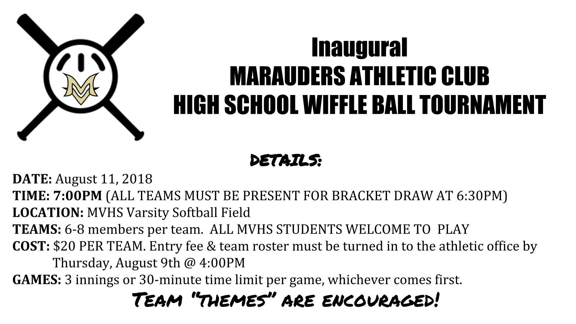 Inaugural High School Wiffle Ball Tourney 8/11!