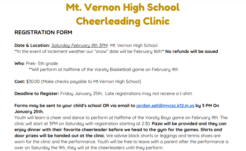 Winter Elementary Cheer Clinic 2/9