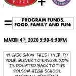 2019-20 Support Folsom Baseball-Eat at Skipolinis 3/4/20
