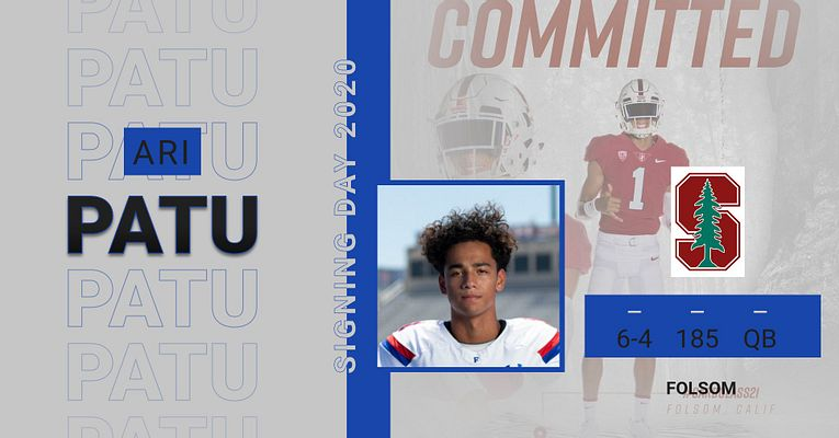 Congratulations to Folsom H.S. Footballl Athlete, Ari Patu for committing to Stanford