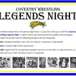"Coventry Wrestling to Host ""Legends Night"" Tomorrow vs. Manchester"