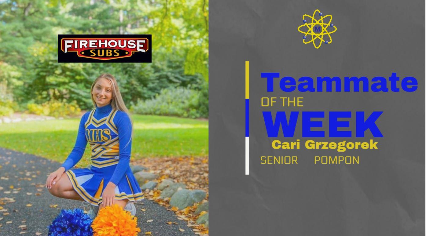 Grzegorek is Pom Teammate of Week