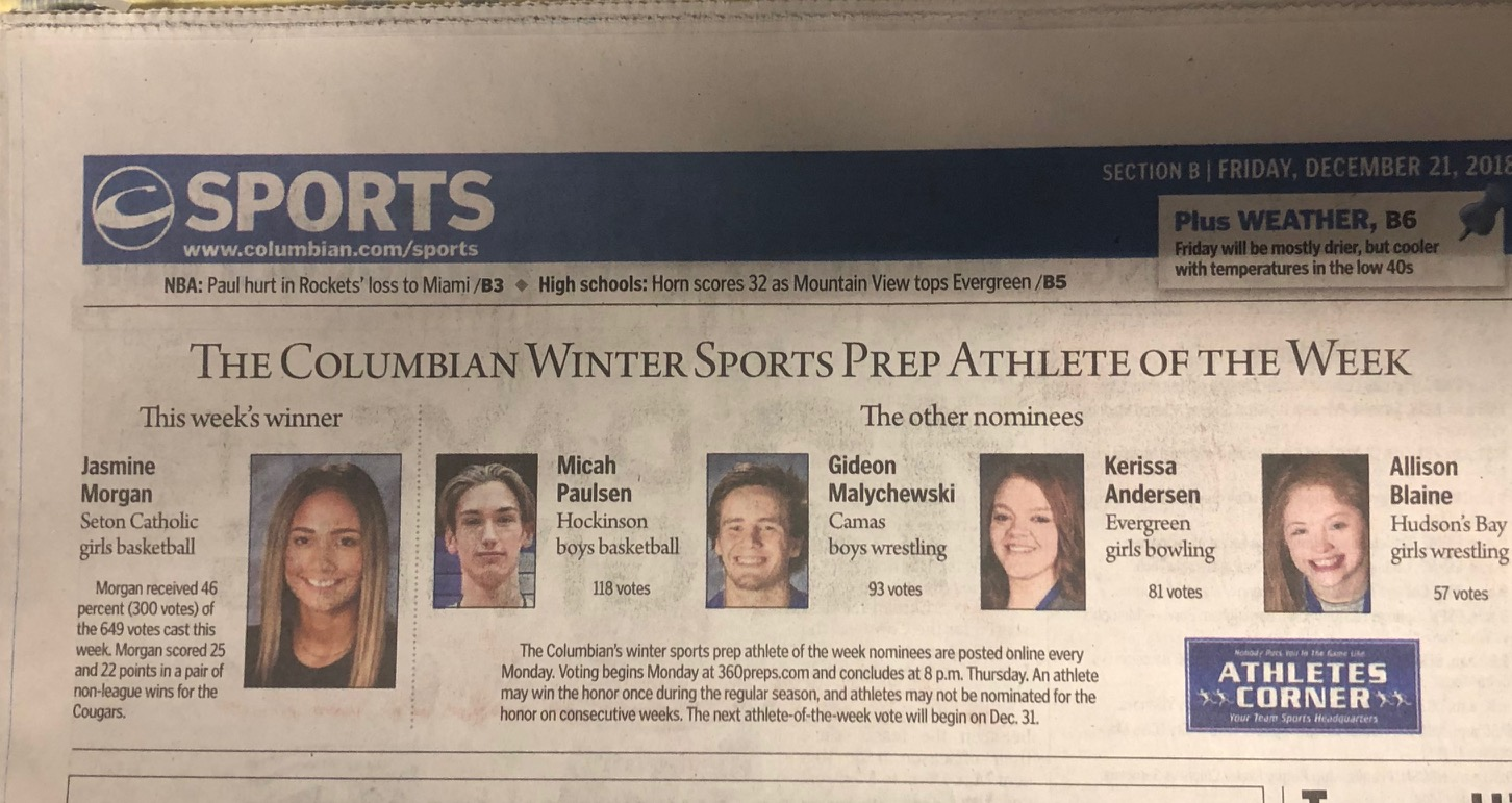 Seton's Jasmine Morgan Selected As The Columbian's Winter Sports Athlete Of The Week!
