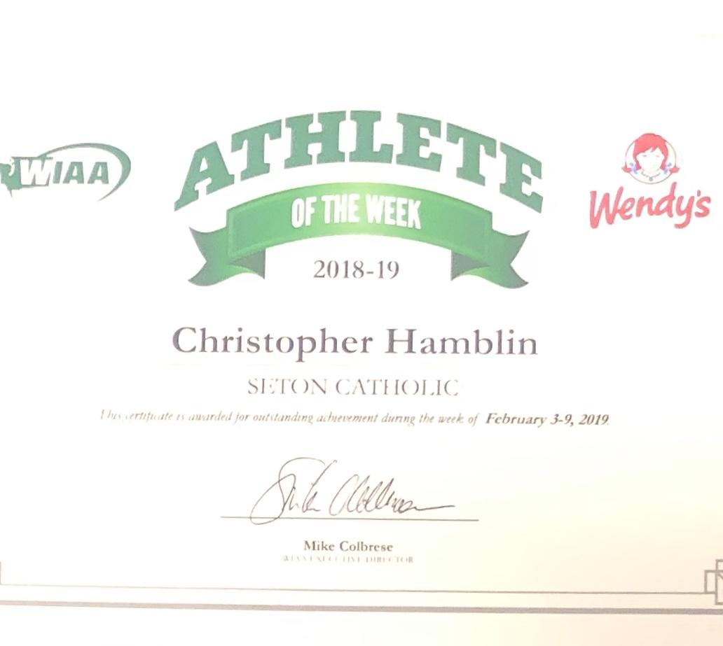 Seton's CJ Hamblin is WIAA's 1A Athlete of the Week!