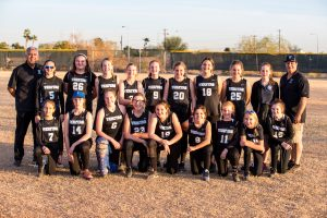 Group photo of the softball team.