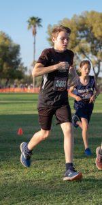 Male athlete running.