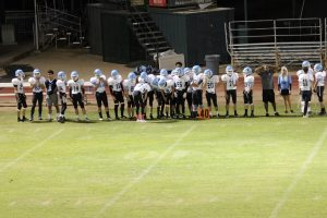 Football team talking to each other.