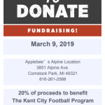 Eat at Applebee's this Saturday, March 9 and support Kent City Football