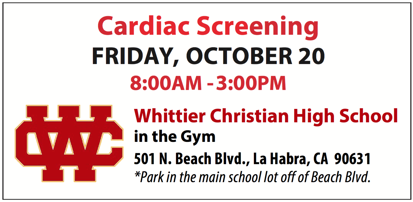 Heart Screening Opportunity in the WCHS Gym!  DON'T MISS THIS!