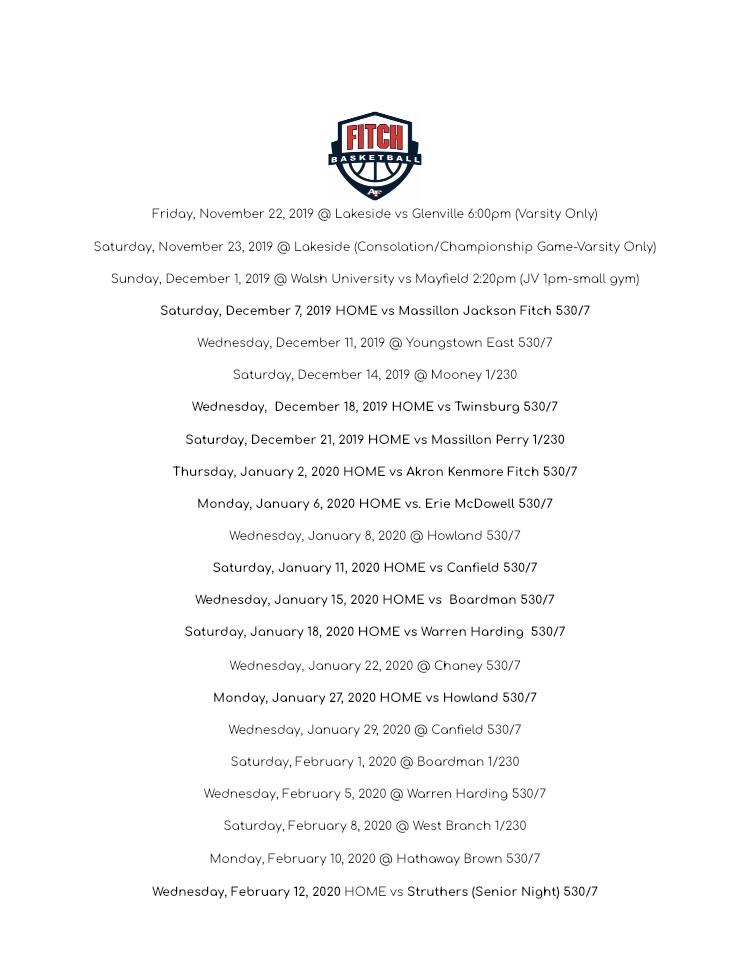 Updated 2019-2020 Girls Basketball Schedule