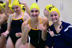Girls Swim Home victory over New Prairie