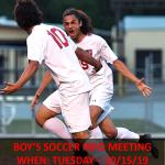 Boy's Soccer – Information Meeting – October 15th