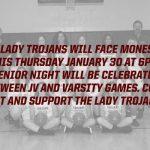 Girls Basketball Senior Night vs. Monessen Thursday 1/30/2020 at 6pm