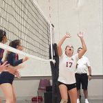 Paige Halcrow sets the ball