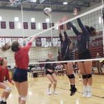 Brenna Allred and Linley Baldwin blocking