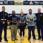 Marines present Battles Won Academy Awards to Abby Lauterbach, Coach Brewbaker, and Cadet Athletics