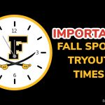 IMPORTANT – Fall Sports Tryout Times